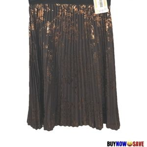 Lularoe Jill M Brown Metallic Print Pleated Skirt